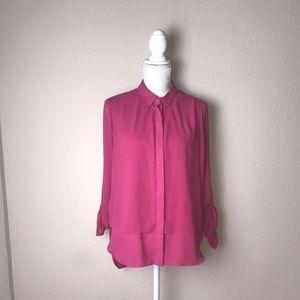 Catherine Malandrino L Blouse Pink Sheer Large